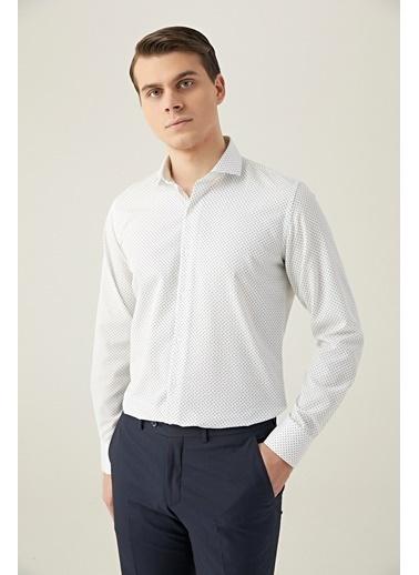 D'S Damat Slim Fit Baskılı Gömlek Beyaz